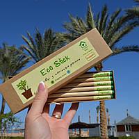 Оригинальный набор с цветными РАСТУЩИМИ КАРАНДАШИ в крафтовой упаковке из 6шт Растущие карандаши. Эко подарки
