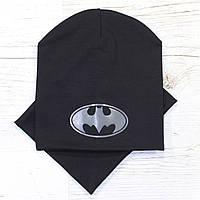Весенняя детская трикотажная шапка комплект черный 52-56р.