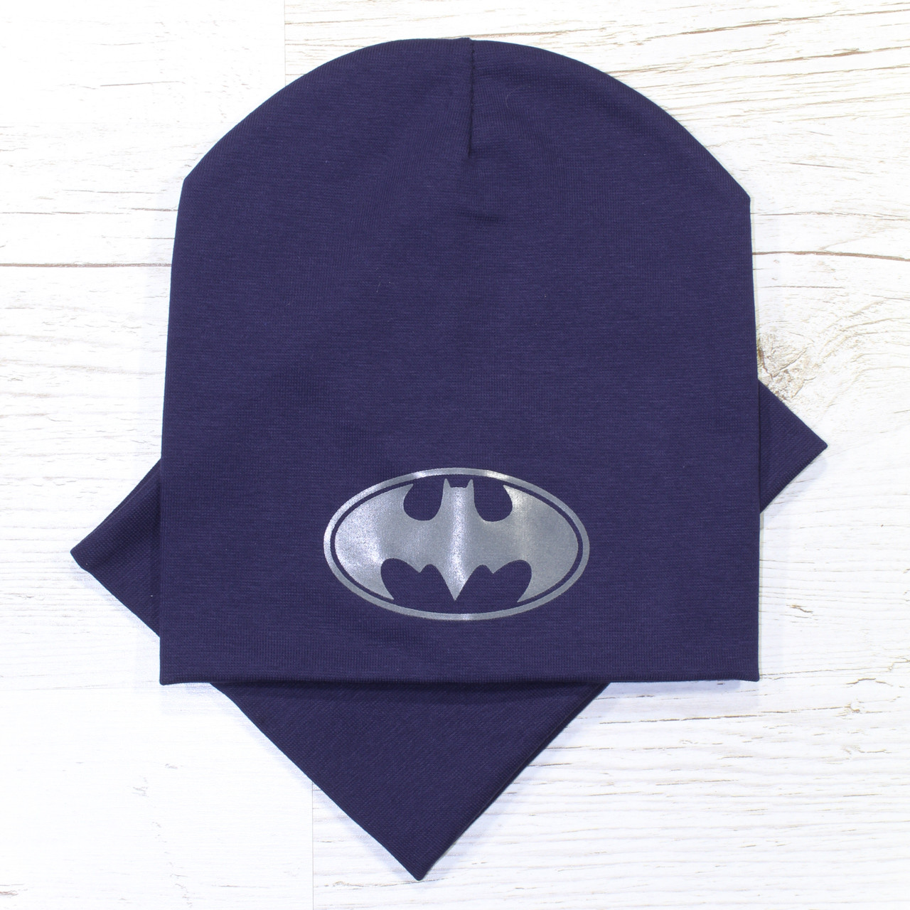Молодежная модная Batman Комплект шапка + баф т.синий 48-52р.