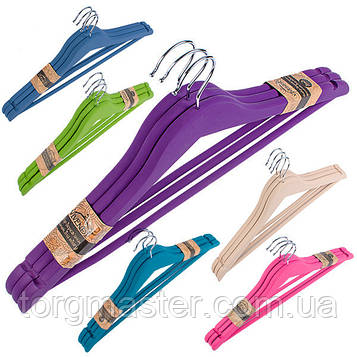 Деревянные Антискользящие вешалки с напылением разные цвета, 45см, 3шт в упаковке