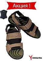 Мужские сандали Splinter, нубук, черный с оливковым, с липучками