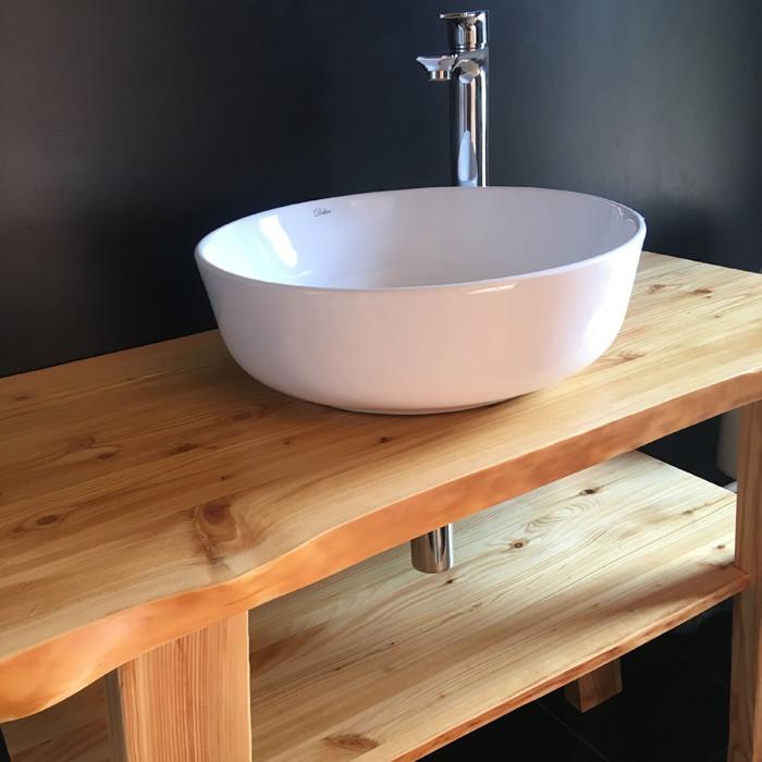 Столешница для ванной из ясеня 40 мм Тонирование+Лак