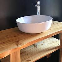 Столешница для ванной из ясеня 40 мм Тонирование+Лак, фото 1