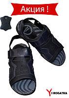 Мужские кожаные сандали Splinter, синие с черным, с липучками