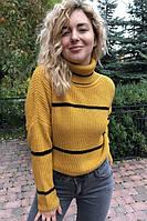 Женский свитер широкого кроя в полоску