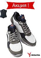 Мужские кожанные кроссовки Splinter, перфорация, комбинированые белые с серыми вставками, с легкой подошвой