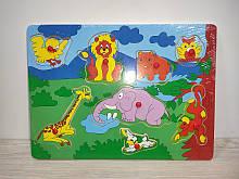 Деревянная игрушка Рамка-вкладыш   0009   животные, 8 видов, в кульке, 29,5-21,5-1,5 см