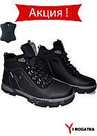 SPLINTER Мужские зимние кожаные ботинки черные прошитые