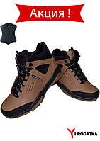 SPLINTER Мужские ботинки зимние кожаные оливковые с черными вставками