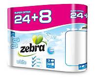 Трехслойная туалетная бумага Zebra White 32 рулона