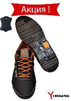 Мужские кожаные кроссовки Splinter черные с рыжими вставками и перфорацией