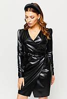 Модное кожаное платье с запахом Ликата 42-46 размера черное