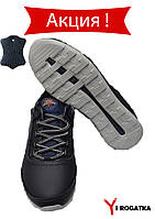 Мужские кожаные кроссовки SPLINTER, черные с синим и с железной петлёй 41
