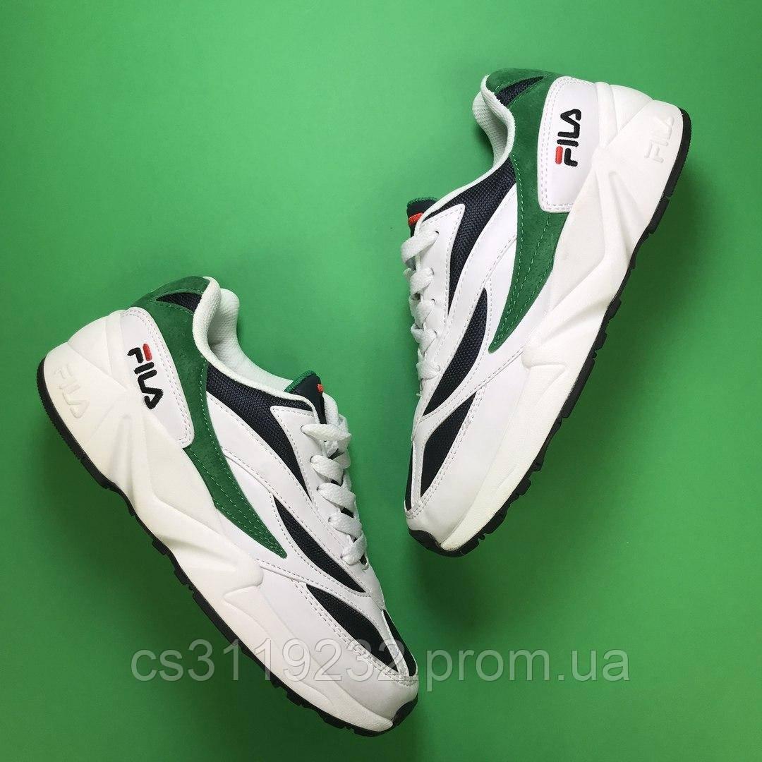 Мужские кроссовки Fila Venom White Green  (бело-зелёные)