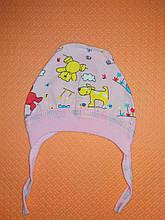 Шапочка на завязках чепчик для девочки на 0-3 месяца
