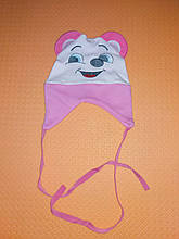 Шапочка демисезонная на завязках с ушками для девочки розовая на 0-3 месяца