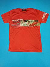 Футболка Armani для мальчика красная на рост 122-128 см.