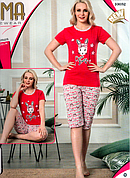 Пижама женская футболка и капри ASMA Турция разные цвета
