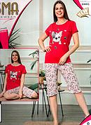 Пижама женская молодежная хлопок футболка и капри ASMA Турция разные цвета