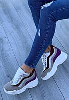 Кроссовки женские 6 пар в ящике фиолетового цвета 36-41, фото 1
