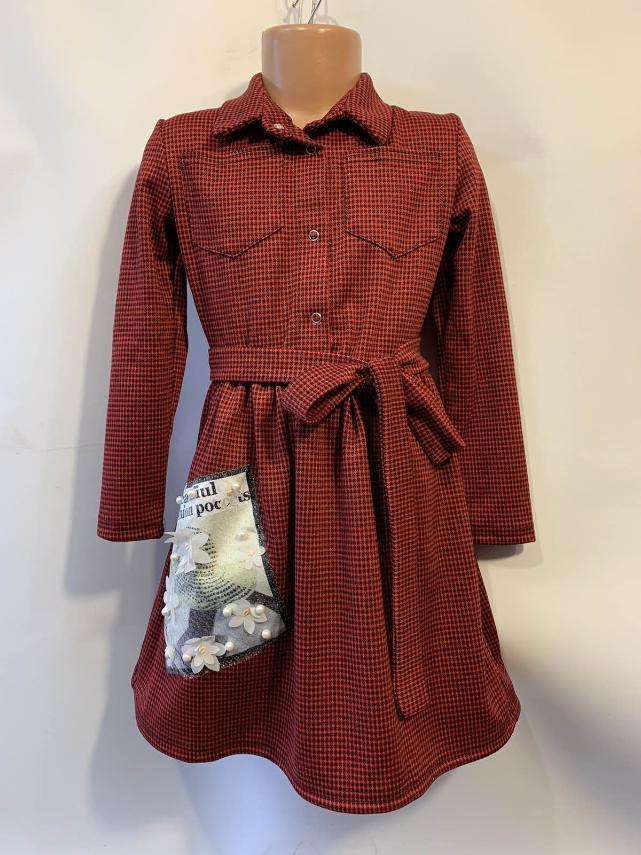 Платье для девочки рубашечного типа с поясом р. 6-10 лет опт