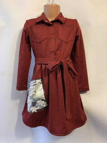 Платье для девочки рубашечного типа с поясом р. 6-10 лет опт, фото 2