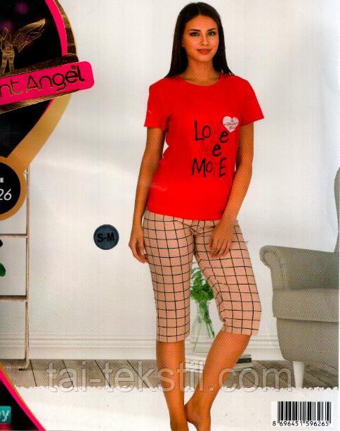 Пижама с капрями качество хлопок с лайкра Турция Night Аngel № 9526