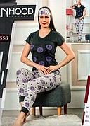 Пижама женская хлопковая с манжетами футболка+брюки Турция М-2XL +маска для сна разные цвета