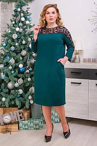 Нарядное женское платье батал с карманами и гипюровыми вставками  52-62 р