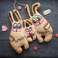 Ароматизированная мягкая игрушка Семья зайцев ручной работы с ароматом кофе, ванили и корицы.Надпись.