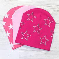 Трикотажные шапки для девочек двойные шапки + бафф Весна/Осень