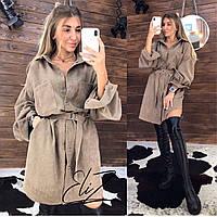 Платье-рубашка вельветовое хаки, бежевый, капучино, графит,, фото 1