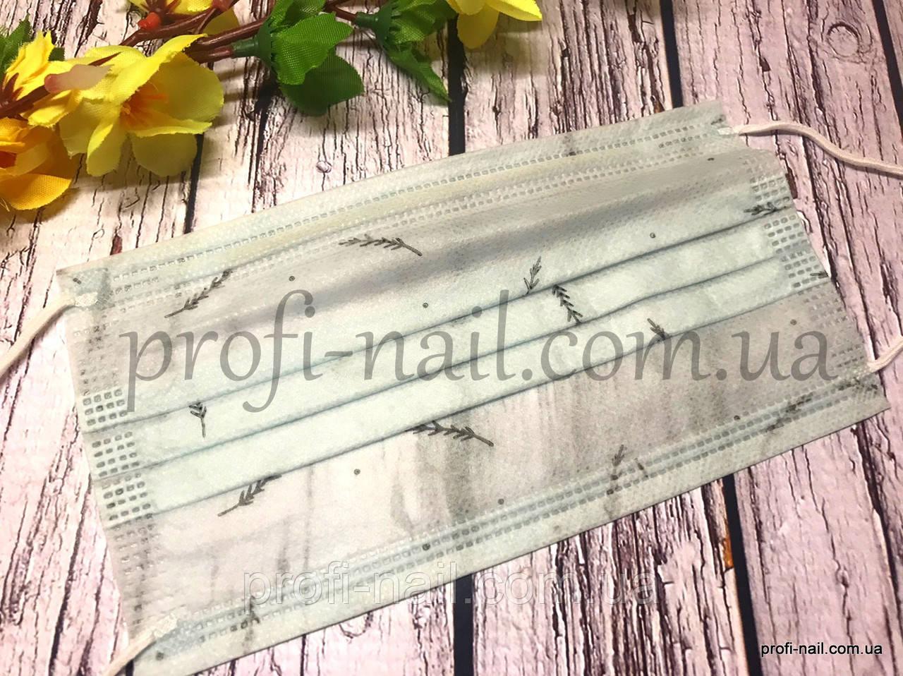 """Маска с рисунком """"Зеленая веточка""""  (10 шт) защитная медицинская для лица с рисунком"""