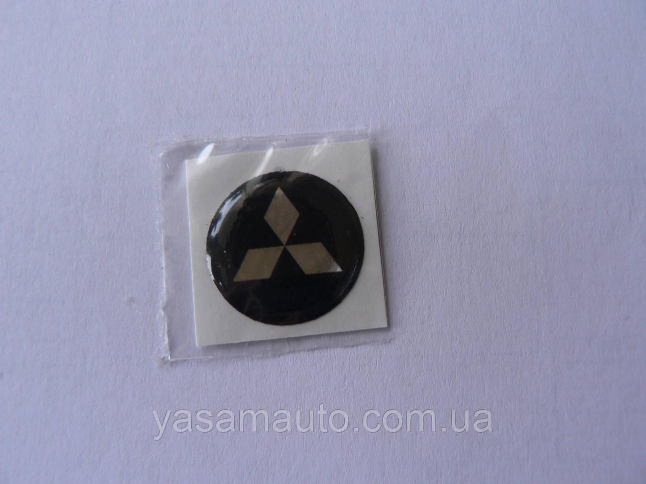 Наклейка s кругла Mitsubishi срібло 13мм силіконова емблема у колі на авто ключі сигналізацію Мітсубіші