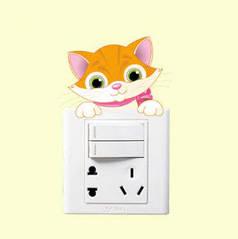 """Виниловые наклейки на стену, наклейки на выключатель, розетки """"Кот цветной"""" 8см*11см (лист 13см*13см)"""