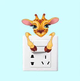 """Виниловые наклейки на стену, наклейки на выключатель, розетки """"жираф цветная"""" 8см*11см (лист 13см*13см)"""