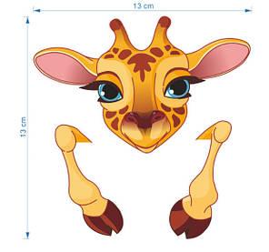 """Виниловые наклейки на стену, наклейки на выключатель, розетки """"жираф цветная"""" 8см*11см (лист 13см*13см), фото 2"""