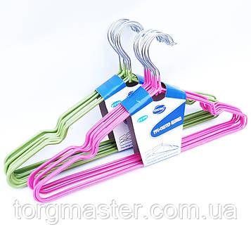 Металлические вешалки плечики 10шт в толстом силиконе разные цвета, 40.5 см