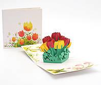 """3D открытка """"Букет тюльпанов"""""""