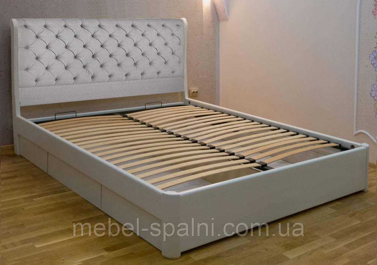 Ліжко двоспальне дерев'яне односпальне півтораспальне з ящиками «Шарлотта»