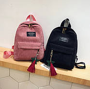 Жіночий вельветовий міський рюкзак Traveling з брелоком (рожевий), фото 2