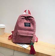 Жіночий вельветовий міський рюкзак Traveling з брелоком (рожевий), фото 3