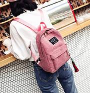 Жіночий вельветовий міський рюкзак Traveling з брелоком (рожевий), фото 5