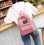 Жіночий вельветовий міський рюкзак Traveling з брелоком (рожевий), фото 4