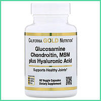 California Gold Nutrition, Глюкозамин, хондроитин, МСМ с гиалуроновой кислотой для суставов, 60 капсул