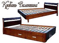 Кровать односпальная полуторная  двуспальная деревянная с ящиками «Валентина»
