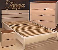 Кровать односпальная полуторная  двуспальная деревянная с ящиками «Герда»
