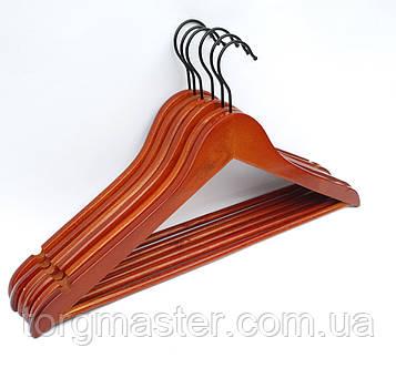 Вешалки 6шт деревянные в лакокрасочном покрытии коричневого цвета, 44см