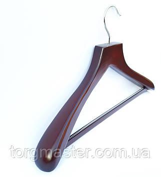 Деревянные темно-коричневые вешалки с широким плечом и антискользящей перекладиной для тяжелой одежды, 45см