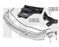 Крепеж бампера BMW 7 E38 94-02, правый, 2 (см. рис.) (FPS) 51118193158